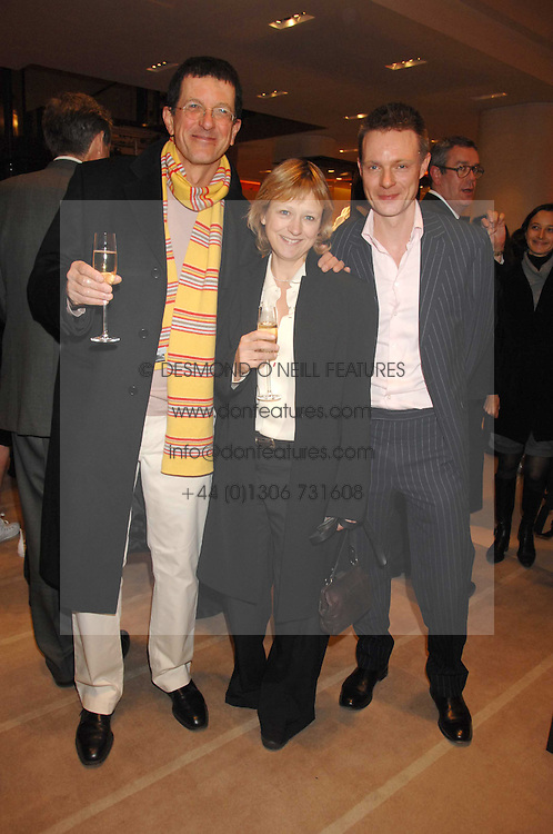 Left to right, artist ANTONY GORMLEY, his wife VICKEN PARSONS and TIM MARLOW writer, broadcaster, art historian and Director of Exhibitions at White Cube at a reception to launch the 2007 Louis Vuitton Christmas windows in collaboration with Central Saint Martins College of Art & Design held at 17-18 New Bond Street, London W1 on 7th November 2007.<br /><br />NON EXCLUSIVE - WORLD RIGHTS