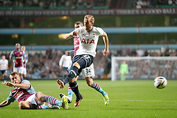 Tottenham Hotspurs' Harry Kane's shot is blocked by Aston Villa's Nathan Baker  - Photo mandatory by-line: Nigel Pitts-Drake/JMP - Tel: Mobile: 07966 386802 24/09/2013 - SPORT - FOOTBALL -  Villa Park - Birmingham - Aston Villa v Tottenham Hotspur - Round 3 - Capital One Cup