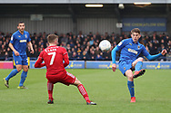 AFC Wimbledon defender Steve Seddon (15) passing the ball during the EFL Sky Bet League 1 match between AFC Wimbledon and Accrington Stanley at the Cherry Red Records Stadium, Kingston, England on 6 April 2019.