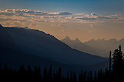 Sunset over the Canadian Rockies along the Icefields Parkway at Jasper National Park in Alberta, Canada.