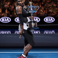 Serena Williams of the United States after the women's final on day thirteen of the 2017 Australian Open at Melbourne Park on January 28, 2017 in Melbourne, Australia.<br /> (Ben Solomon/Tennis Australia)