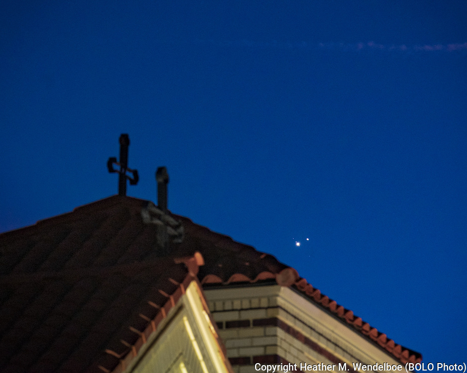 """Great Conjunction of Jupiter and Saturn<br /> (aka """"The Christmas Star"""")<br /> Winter Solstice<br /> 21 Dec 20<br /> Saints Constantine and Helen Greek Orthodox Church<br /> Cheyenne, Wyoming"""