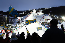February 8, 2019 - Re, SWEDEN - 190208 Spectators in the stands at the  women's alpine combination during the FIS Alpine World Ski Championships on February 8, 2019 in re..Photo: Joel Marklund / BILDBYRN / kod JM / 87851 (Credit Image: © Joel Marklund/Bildbyran via ZUMA Press)
