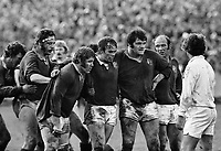Rugby Union - 1977 British Lions tour of New Zealand - Third Test: New Zealand 19 Lions 7<br /> <br /> The Lions front row prepare to scrummage at Carisbrook, Dunedin. (l-r): Graham Price, Peter Wheeler, Fran Cotton. Far right is Terry Cobner, and behind is Bill Beaumont.