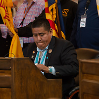 Council Delegate Otto Tso, after a moving speech addressed to the Arizona representatives, during the Navajo Nation Council Fall Session, in Window Rock.