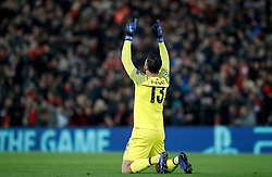 Liverpool goalkeeper Alisson Becker celebrates his side's first goal
