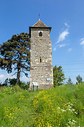 The remaining tower of the lost church of Lassington, Gloucestershire, England, UK