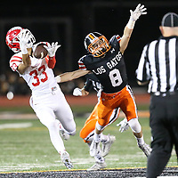 (Photograph by Bill Gerth for SVCN) Saratoga #33 Harrison Fong almost catches the pass as  Los Gatos #8 Ryan Wilcox defends in a SCVAL Football Game at Los Gatos High School, Los Gatos CA on 11/4/16.  (Los Gatos 49 Saratoga 7)
