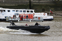 London Fire Brigade fire rescue boat Fire Dart, Metropolitan Police Marine Unit Rigid Inflatable Boat (RIB), Emergency Services Exercise, Lambeth Reach River Thames, London UK, 23 October 2017, Photo by Richard Goldschmidt