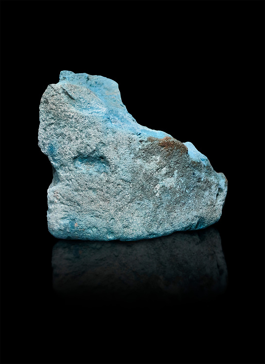 Ancient Egyptian fragment of blue pigment,  19-20th Dynasty (1292-1076 BC, Deir el-Medina. Egyptian Museum, Turin. Schiaparelli Cat 9929.  Black background, .<br /> <br /> If you prefer to buy from our ALAMY PHOTO LIBRARY  Collection visit : https://www.alamy.com/portfolio/paul-williams-funkystock/ancient-egyptian-art-artefacts.html  . Type -   Turin   - into the LOWER SEARCH WITHIN GALLERY box. Refine search by adding background colour, subject etc<br /> <br /> Visit our ANCIENT WORLD PHOTO COLLECTIONS for more photos to download or buy as wall art prints https://funkystock.photoshelter.com/gallery-collection/Ancient-World-Art-Antiquities-Historic-Sites-Pictures-Images-of/C00006u26yqSkDOM