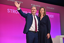 © Licensed to London News Pictures. 29/09/2021. Brighton, UK. Labour Party leader Keir Starmer on stage with his wife Victoria Starmer after making a key note speech at the Labour Party Annual Conference in Brighton. Photo credit: London News Pictures