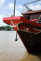 Painted eyes on Le Bassac, a riverboat that cruises the Mekong in comfort from the outskirts of Saigon to Can Tho in the heart of the Mekong Delta.