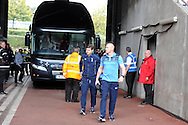 Tottenham manager Mauricio Pochettino  arrives off the team bus ahead of the game. Barclays premier league match, Swansea city v Tottenham Hotspur  at the Liberty Stadium  in Swansea, South Wales on Sunday 4th October 2015.<br /> pic by  Andrew Orchard, Andrew Orchard sports photography.