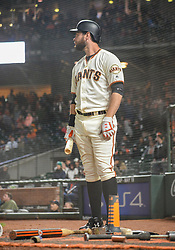 April 30, 2018 - San Francisco, CA, U.S. - SAN FRANCISCO, CA - APRIL 30: San Francisco Giants First base Brandon Belt (9) stand on the on deck mat during the ninth inning of the San Francisco Giants versus San Diego Padres game on April 30, 2018 at AT&T Park in San Francisco, CA. (Photo by Stephen Hopson/Icon Sportswire) (Credit Image: © Stephen Hopson/Icon SMI via ZUMA Press)