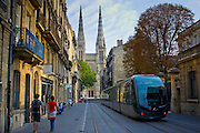 New public transport ttram system by St Andre Cathedral, Bordeaux, France.