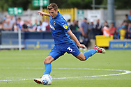 AFC Wimbledon defender Ben Purrington (3) passing the ball during the EFL Sky Bet League 1 match between AFC Wimbledon and Coventry City at the Cherry Red Records Stadium, Kingston, England on 11 August 2018.