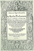 Title page of  Acts of Parliament for 1585. Reign of Elizabeth I of England and Ireland.