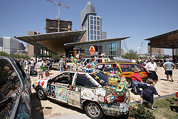 Stock photo of Art cars on display at the park
