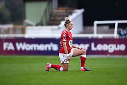 Aimee Palmer of Bristol City Women takes a knee prior to kick off - Mandatory by-line: Ryan Hiscott/JMP - 18/10/2020 - FOOTBALL - Twerton Park - Bath, England - Bristol City Women v Birmingham City Women - Barclays FA Women's Super League