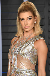 March 9, 2018 - Los Angeles, CA, U.S. - 04 March 2018 - Los Angeles, California - Hailey Baldwin. 2018 Vanity Fair Oscar Party hosted following the 90th Academy Awards held at the Wallis Annenberg Center for the Performing Arts. Photo Credit: Birdie Thompson/AdMedia (Credit Image: © Birdie Thompson/AdMedia via ZUMA Wire)