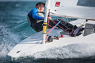 The 2015 Laser Women's Radial World Championship. Mussanah. Oman. November 18-26 November. Day 3 of racing - Maité Carlier (BEL)<br /> Image licensed to Lloyd Images