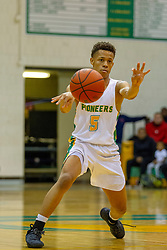 15 February 2019: Boys Basketball game between the Sacred Heart Griffin Cyclones and the University High Pioneers in Unuversity High School, Normal IL