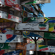 Good Morning signs on all languages of the world in Langkawi cafe, Malaysia