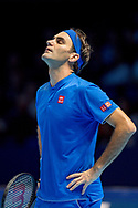 Roger Federer of Switzerland looks dejected during the Nitto ATP World Tour Finals at the O2 Arena, London, United Kingdom on 11 November 2018. Photo by Martin Cole