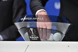 NYON, SWITZERLAND - Friday, July 10, 2020: The draw bowl during the UEFA Champions League and UEFA Europa League 2019/20 draws for the Quarter-final, Semi-final and Final at the UEFA headquarters, The House of European Football. (Photo Handout/UEFA)