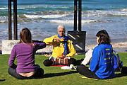 Israel, Haifa, Falun Gong AKA Falun Dafa meditation session.