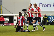 Goal - Hiram Boateng (44) of Exeter City celebrates scores a goal to give a 2-0 lead to the home team during the EFL Sky Bet League 2 match between Exeter City and Lincoln City at St James' Park, Exeter, England on 17 May 2018. Picture by Graham Hunt.