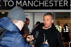 Barcelona manager Jose Enrique arrives at Manchester Airport  - Mandatory by-line: Matt McNulty/JMP - 31/10/2016 - FOOTBALL - Manchester Airport - Manchester, England - Manchester City v Barcelona - UEFA Champions League - Group C
