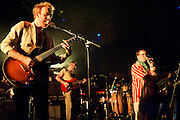 COLUMBIA, MD - July 22nd, 2012 - Al Doyle, Rob Smoughton and Alexis Taylor of Hot Chip perform at Merriweather Post Pavilion in Columbia, MD. The band released their fifth studio album, In Our Heads, in April.  (Photo by Kyle Gustafson/For The Washington Post)