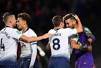 Football - 2018 / 2019 EFL Carabao Cup (League Cup) - Third Round: Tottenham Hotspur vs. Watford<br /> <br /> Tottenham Hotspur's Paulo Gazzaniga congratulated after his 2 penally saves in the shoot out, at Stadium MK.<br /> <br /> COLORSPORT/ASHLEY WESTERN