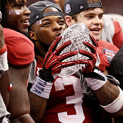 Jan 9, 2012; New Orleans, LA, USA;Alabama Crimson Tide running back Trent Richardson (3) celebrates with The Coaches Trophy crystal ball after the 2012 BCS National Championship game win over the LSU Tigers at the Mercedes-Benz Superdome.  Mandatory Credit: Derick E. Hingle-US PRESSWIRE