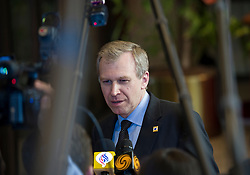 Yves Leterme, Belgium's prime minister, speaks to the press following the euro-zone summit in Brussels, Belgium, on Friday, May 7, 2010. (Photo © Jock)