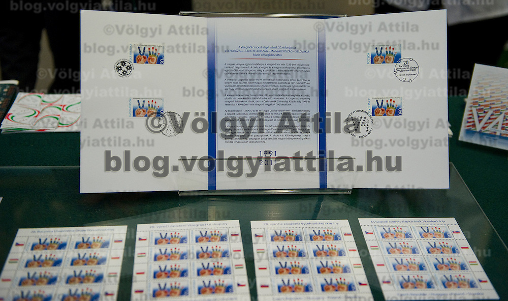 Hungarian Post introduces a stamp commemorating the  20th anniversary of the founding of the Visegrad Four group in Budapest, Hungary on February 15, 2011. ATTILA VOLGYI