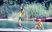 Barcelona Olympics 1992 - Lake Banyoles, SPAIN, AUS M2X  stroke, ANTONIE Peter,<br /> HAWKINS Stephen Mark,  Photo: Peter Spurrier/Intersport Images.  Mob +44 7973 819 551/email images@intersport-images.com