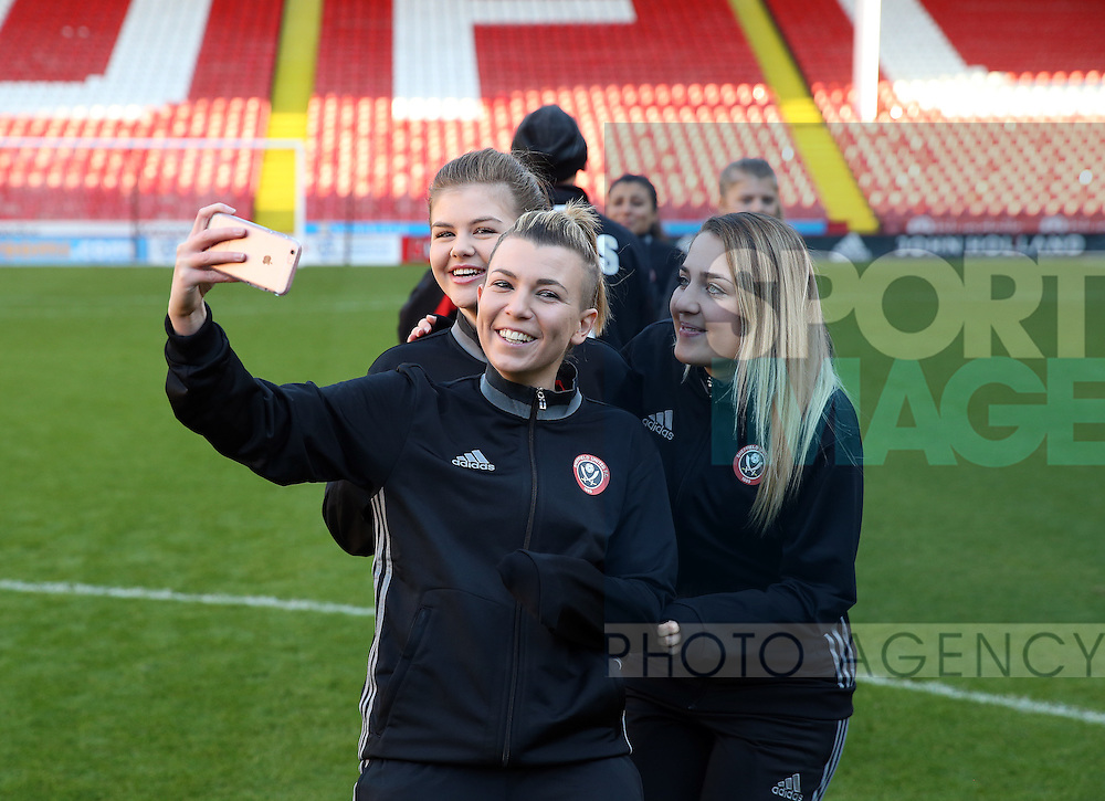 Sheffield United Ladies Jennifer Pearson takes a selfie photo during the FA Women's Cup First Round match at Bramall Lane Stadium, Sheffield. Picture date: December 4th, 2016. Pic Clint Hughes/Sportimage