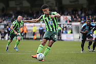 Lyle Taylor of AFC Wimbledon scores his teams 2nd goal from a penalty to make it 1-2.  Skybet football league two match, Wycombe Wanderers  v AFC Wimbledon at Adams Park  in High Wycombe, Buckinghamshire on Saturday 2nd April 2016.<br /> pic by John Patrick Fletcher, Andrew Orchard sports photography.