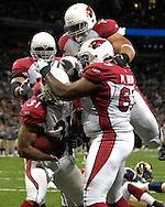 Arizona Cardinals celebrate after Marchel Shipp's (31) touchdown run in the third quarter against St. Louis at the Edward Jones Dome in St. Louis, Missouri, December 3, 2006.  The Cardinals beat the Rams 34-20.<br />
