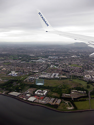 Photographs onboard an early morning Ryanair flight on it's approach over the Firth of Forth, near Leith, Edinburgh, on the way to land at Edinburgh airport,a day after the latest Iceland volcano dust scare.
