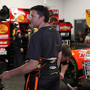 Driver Tony Stewart is seen in his garage during the  56th Annual NASCAR Daytona 500 practice session at Daytona International Speedway on Wednesday, February 19, 2014 in Daytona Beach, Florida.  (AP Photo/Alex Menendez)