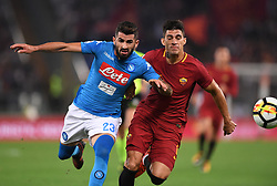ROMA, Oct. 15, 2017  Napoli's Elsie Hysaj (L) vies with Roma's Diego Perotti during a Serie A soccer match between Roma and Napoli in Rome, Italy, Oct. 14, 2017. Napoli won 1-0. hcs) (Credit Image: © Alberto Lingria/Xinhua via ZUMA Wire)