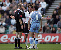 Photo: Paul Thomas.<br /> Preston North End v Manchester City. The FA Cup. 18/02/2007.<br /> <br /> Referee Mike Riley (L) controls Danny Pugh (C) and Joey Barton of Man City.