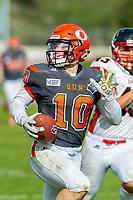 KELOWNA, BC - OCTOBER 6: Conor Richard #10 of Okanagan Sun runs with the ball against the VI Raiders at the Apple Bowl on October 6, 2019 in Kelowna, Canada. (Photo by Marissa Baecker/Shoot the Breeze)