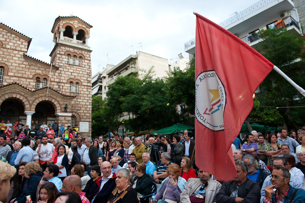 Open Assembly of SYRIZA in Aghia Ekaterini Square, in the Kato Petralona neighbourhood  of Athens.