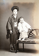 mother with baby toddler Japan ca 1930s