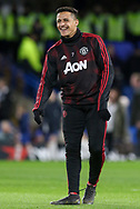 Manchester United Forward Alexis Sanchez shares a smile in warm up during the The FA Cup 5th round match between Chelsea and Manchester United at Stamford Bridge, London, England on 18 February 2019.