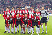 Fotball<br /> Foto: Dppi/Digitalsport<br /> NORWAY ONLY<br /> <br /> FOOTBALL - CHAMPIONS LEAGUE CUP 2005/2006 - 1/8 FINAL - 1ST LEG - OLYMPIQUE LYON v PSV EINDHOVEN - 21/02/2006 - PSV EINDHOVEN TEAM (BACK ROW LEFT TO RIGHT : JAN VENNEGOOR OF HESSELINK / TIMMY SIMONS / MICHAEL LAMEY / ALEX / ANDRE OOIJER / JASON CULINA / HEURELHO GOMES. FRONT ROW : MICHAEL REIZIGER / IBRAHIM AFFELAY / PHILLIP COCU / JEFFERSON FARFAN)